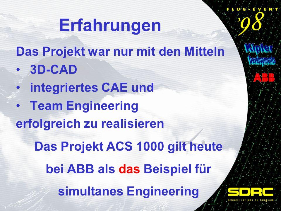 Erfahrungen Das Projekt war nur mit den Mitteln 3D-CAD integriertes CAE und Team Engineering erfolgreich zu realisieren Das Projekt ACS 1000 gilt heute bei ABB als das Beispiel für simultanes Engineering