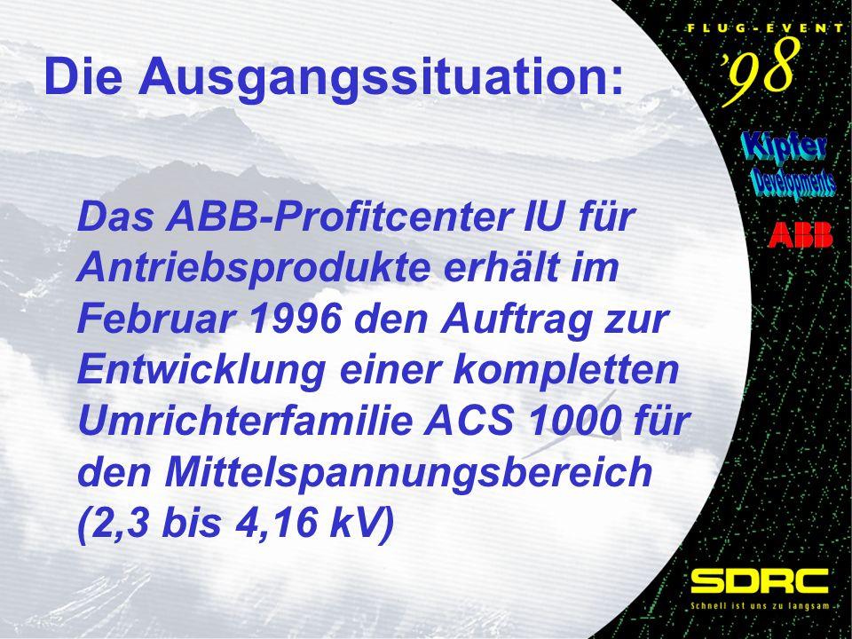 Das ABB-Profitcenter IU für Antriebsprodukte erhält im Februar 1996 den Auftrag zur Entwicklung einer kompletten Umrichterfamilie ACS 1000 für den Mittelspannungsbereich (2,3 bis 4,16 kV) Die Ausgangssituation: