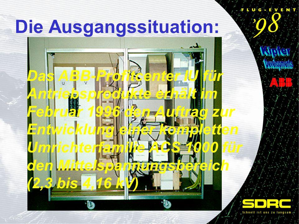 Das ABB-Profitcenter IU für Antriebsprodukte erhält im Februar 1996 den Auftrag zur Entwicklung einer kompletten Umrichterfamilie ACS 1000 für den Mit