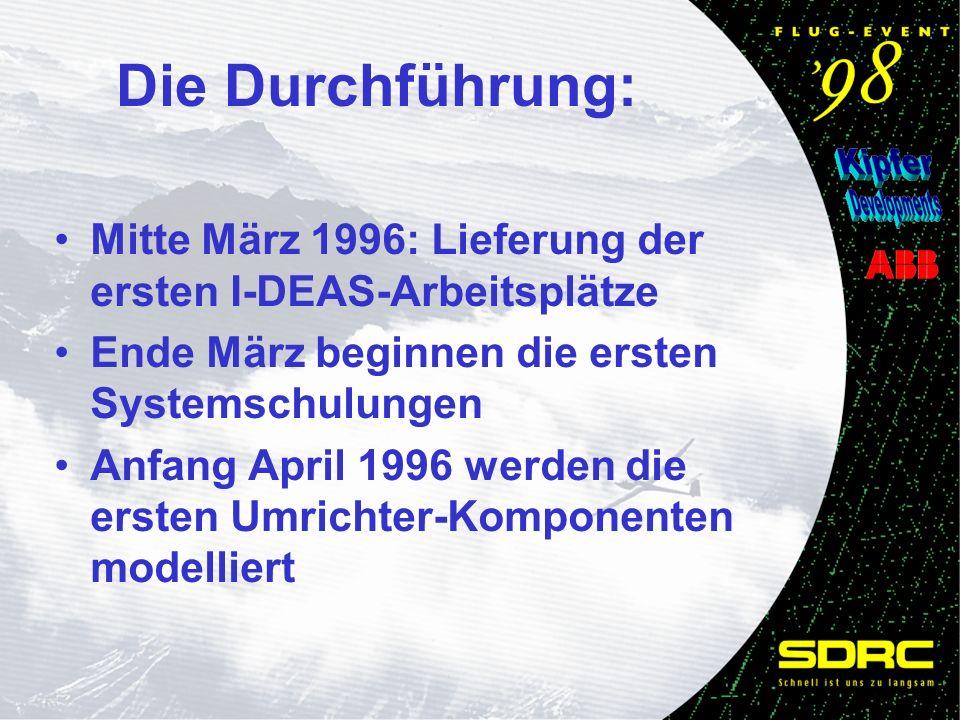 Mitte März 1996: Lieferung der ersten I-DEAS-Arbeitsplätze Ende März beginnen die ersten Systemschulungen Anfang April 1996 werden die ersten Umrichter-Komponenten modelliert Die Durchführung: