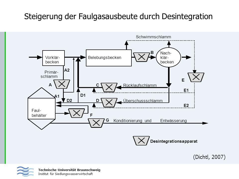 Technische Universität Braunschweig Institut für Siedlungswasserwirtschaft Steigerung der Faulgasausbeute durch Desintegration Schwimmschlamm B Nach-