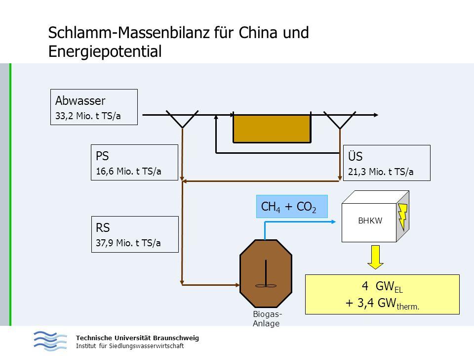 Technische Universität Braunschweig Institut für Siedlungswasserwirtschaft Schlamm-Massenbilanz für China und Energiepotential BHKW Biogas- Anlage CH