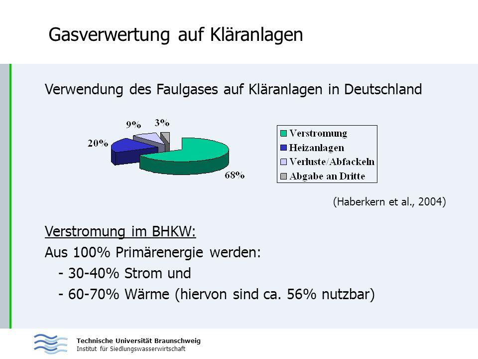 Technische Universität Braunschweig Institut für Siedlungswasserwirtschaft Gasverwertung auf Kläranlagen Verwendung des Faulgases auf Kläranlagen in D