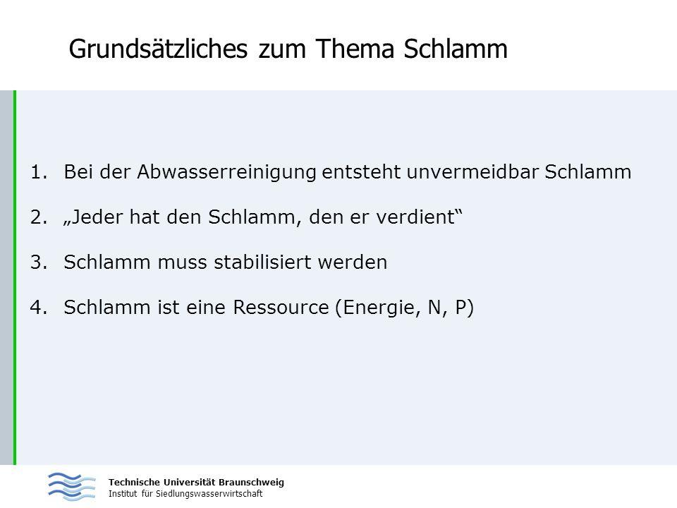 Technische Universität Braunschweig Institut für Siedlungswasserwirtschaft Grundsätzliches zum Thema Schlamm 1.Bei der Abwasserreinigung entsteht unve