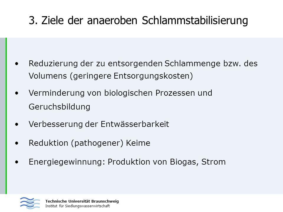Technische Universität Braunschweig Institut für Siedlungswasserwirtschaft 3. Ziele der anaeroben Schlammstabilisierung Reduzierung der zu entsorgende