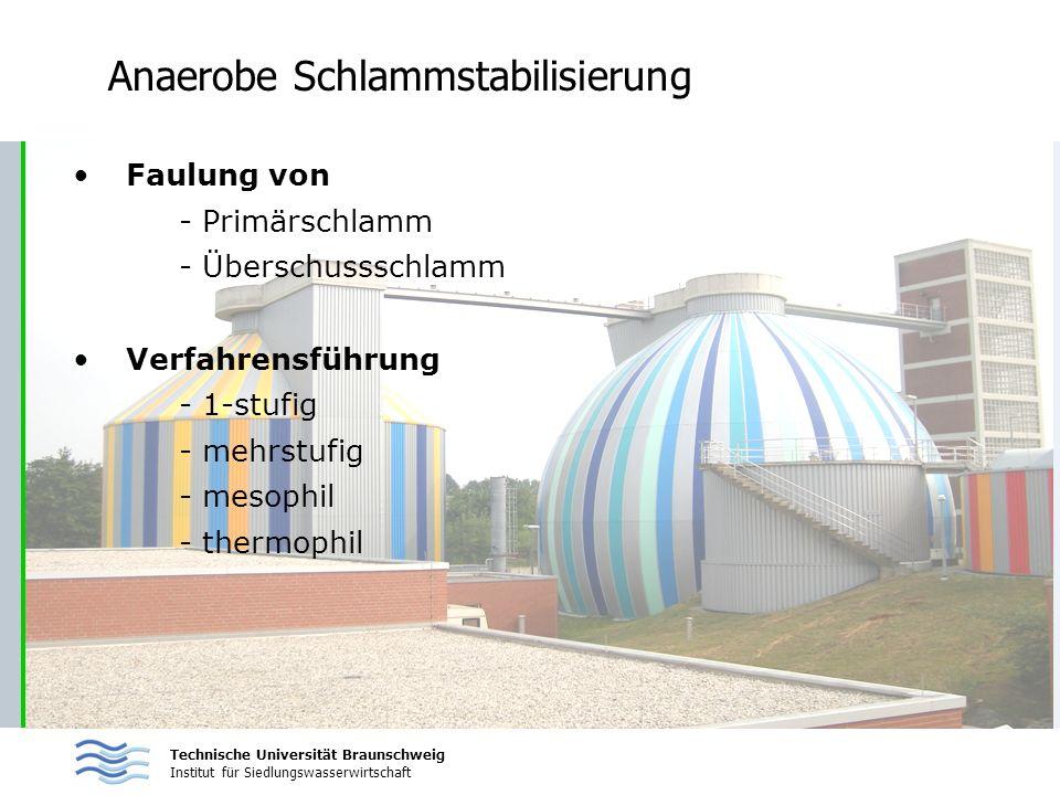Technische Universität Braunschweig Institut für Siedlungswasserwirtschaft Anaerobe Schlammstabilisierung Faulung von - Primärschlamm - Überschussschl