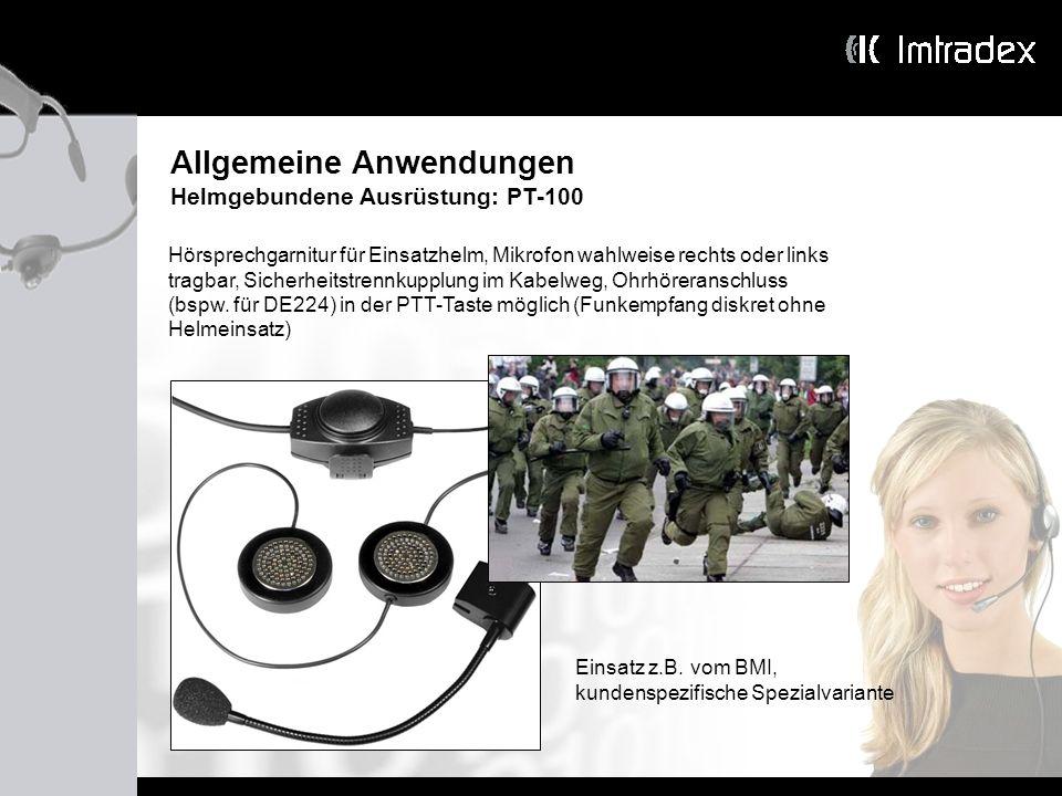 Allgemeine Anwendungen Helmgebundene Ausrüstung: PT-100 Hörsprechgarnitur für Einsatzhelm, Mikrofon wahlweise rechts oder links tragbar, Sicherheitstr