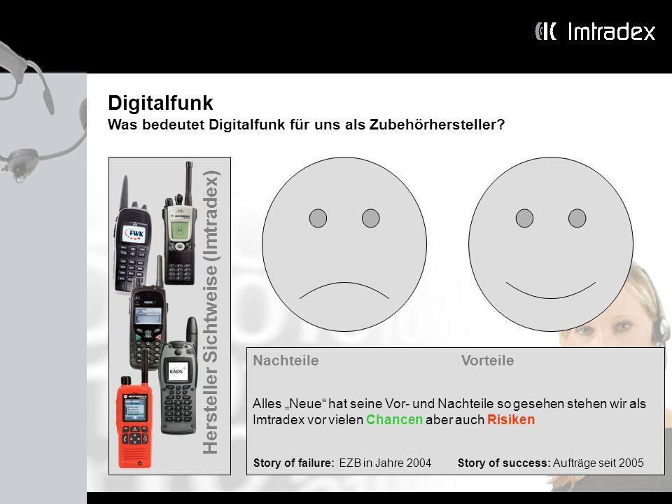 Digitalfunk Was bedeutet Digitalfunk für uns als Zubehörhersteller? Hersteller Sichtweise (Imtradex) Nachteile Vorteile Alles Neue hat seine Vor- und