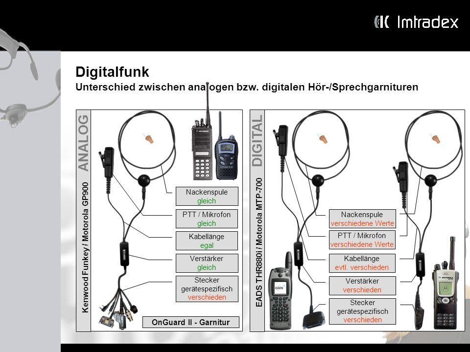 Digitalfunk Unterschied zwischen analogen bzw. digitalen Hör-/Sprechgarnituren Kenwood Funkey / Motorola GP900 ANALOG Nackenspule gleich PTT / Mikrofo