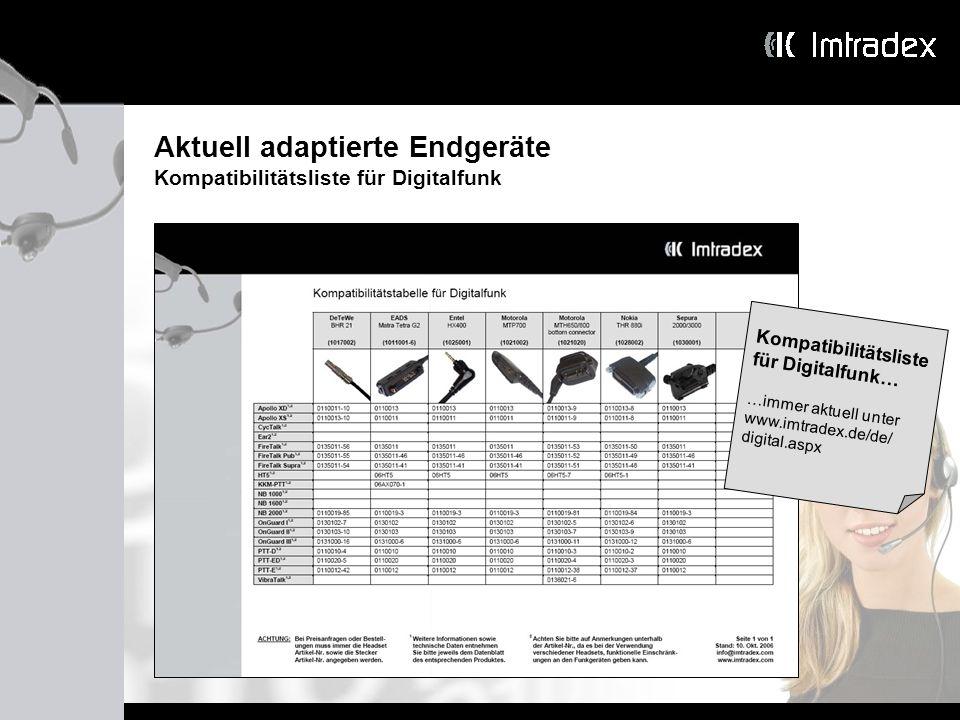 Aktuell adaptierte Endgeräte Kompatibilitätsliste für Digitalfunk Kompatibilitätsliste für Digitalfunk… …immer aktuell unter www.imtradex.de/de/ digit