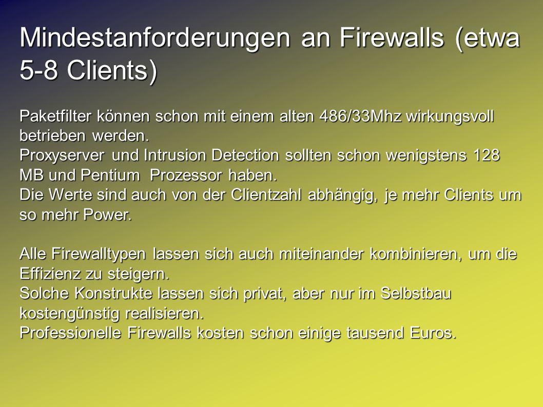 Mindestanforderungen an Firewalls (etwa 5-8 Clients) Paketfilter können schon mit einem alten 486/33Mhz wirkungsvoll betrieben werden. Proxyserver und
