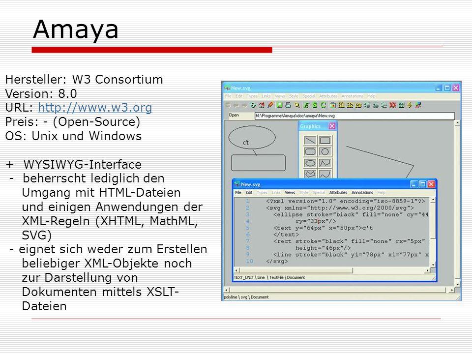 Amaya Hersteller: W3 Consortium Version: 8.0 URL: http://www.w3.orghttp://www.w3.org Preis: - (Open-Source) OS: Unix und Windows + WYSIWYG-Interface - beherrscht lediglich den Umgang mit HTML-Dateien und einigen Anwendungen der XML-Regeln (XHTML, MathML, SVG) - eignet sich weder zum Erstellen beliebiger XML-Objekte noch zur Darstellung von Dokumenten mittels XSLT- Dateien