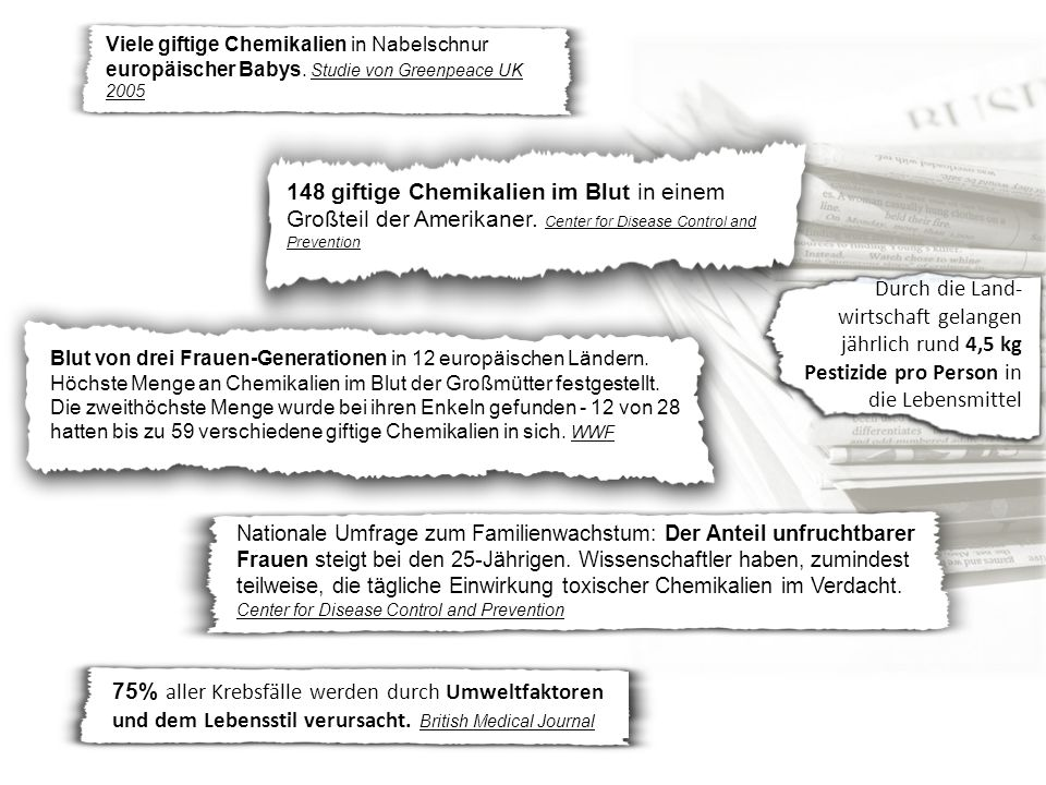 Viele giftige Chemikalien in Nabelschnur europäischer Babys.