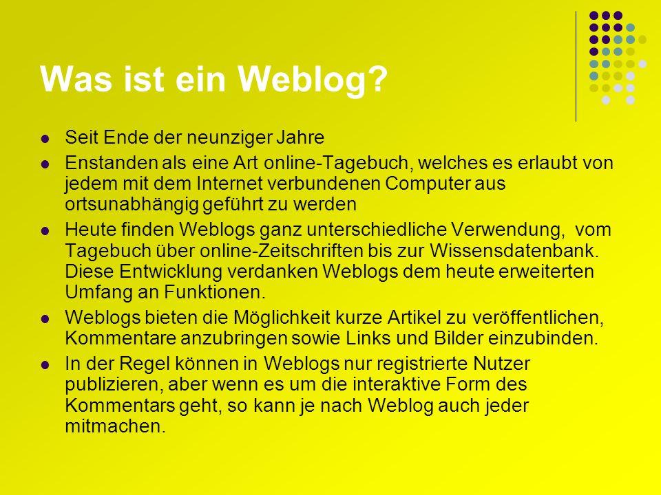 Was ist ein Weblog.