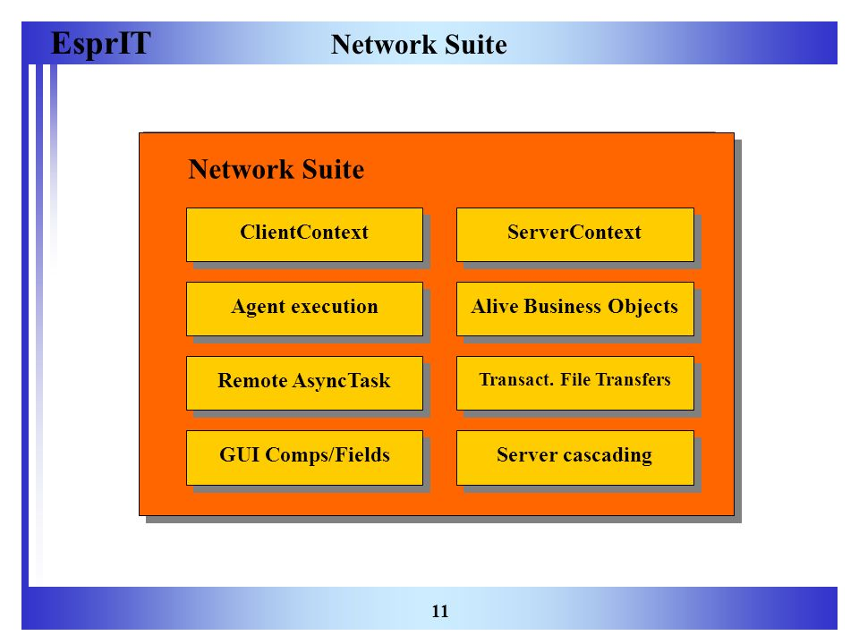 EsprIT 11 Network Suite ClientContextServerContextRemote AsyncTaskAlive Business Objects Transact. File Transfers GUI Comps/FieldsServer cascadingAgen