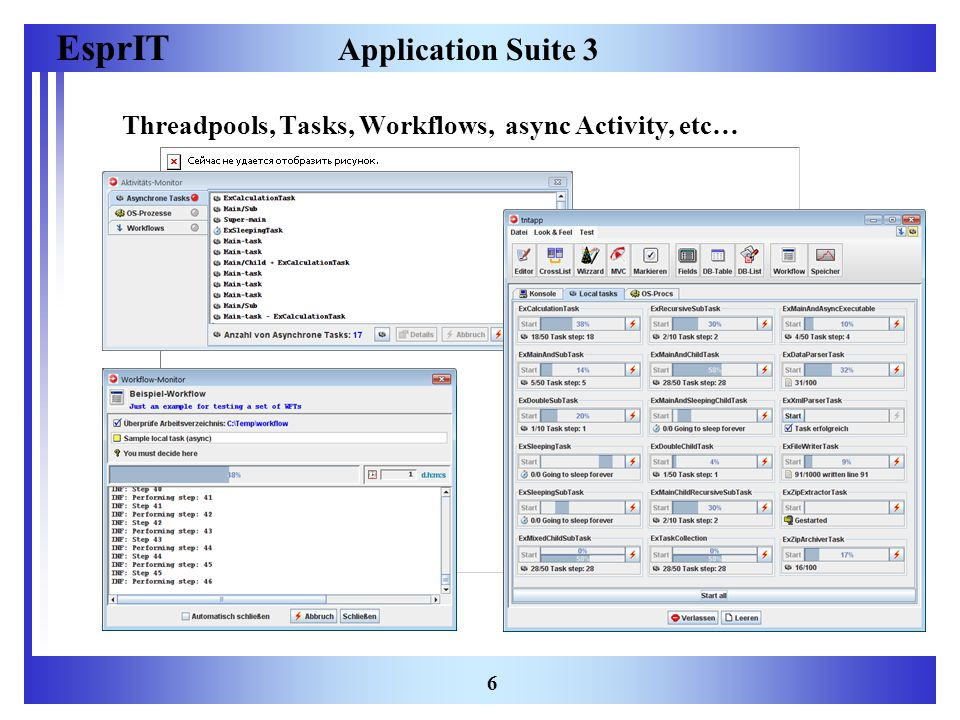 EsprIT 6 Application Suite 3 Threadpools, Tasks, Workflows, async Activity, etc…