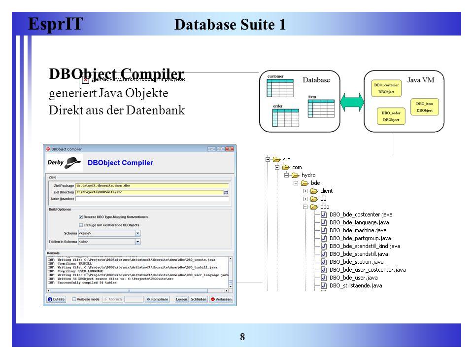 EsprIT 8 Database Suite 1 DBObject Compiler generiert Java Objekte Direkt aus der Datenbank