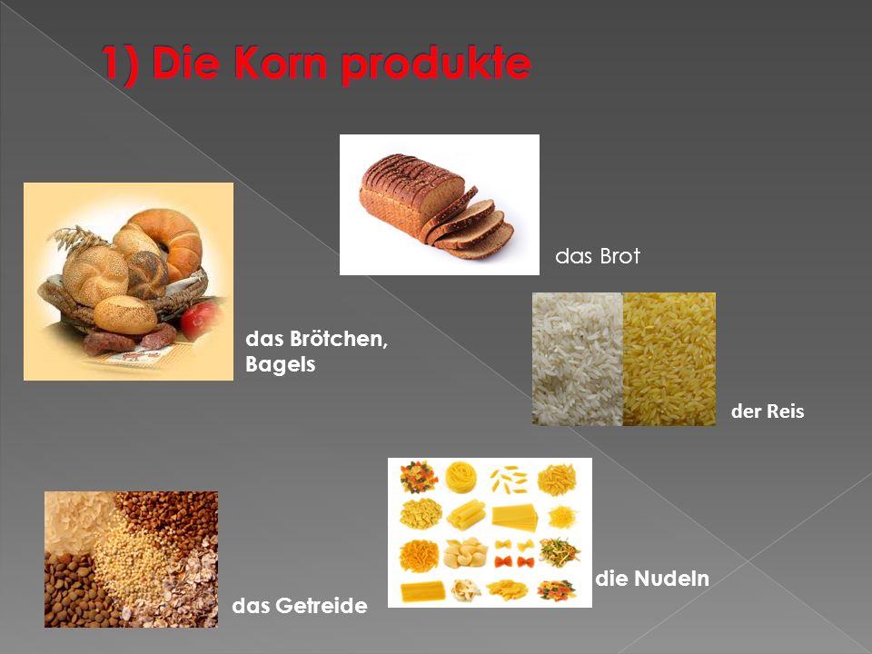 das Brötchen, Bagels das Brot das Getreide der Reis die Nudeln