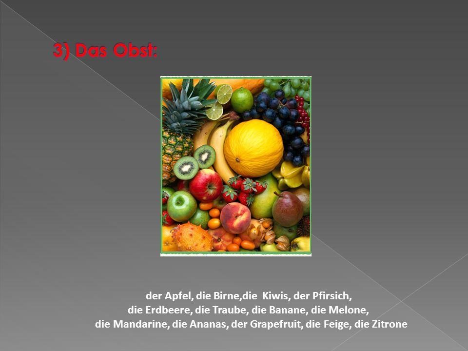 der Apfel, die Birne,die Kiwis, der Pfirsich, die Erdbeere, die Traube, die Banane, die Melone, die Mandarine, die Ananas, der Grapefruit, die Feige,