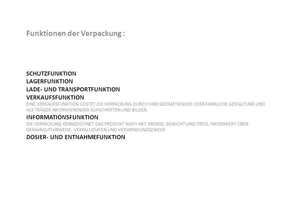 SCHUTZFUNKTION LAGERFUNKTION LADE- UND TRANSPORTFUNKTION VERKAUFSFUNKTION EINE VERKAUFSFUNKTION LEISTET DIE VERPACKUNG DURCH IHRE GEOMETRISCHE ODER FA