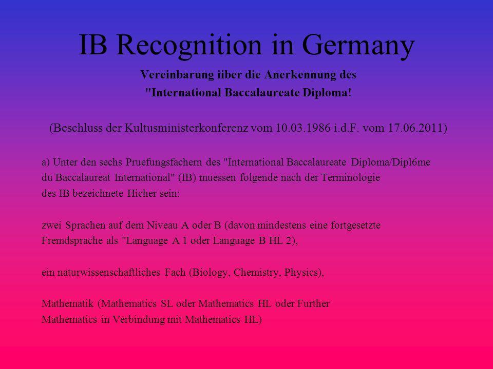 IB Recognition in Germany Vereinbarung iiber die Anerkennung des