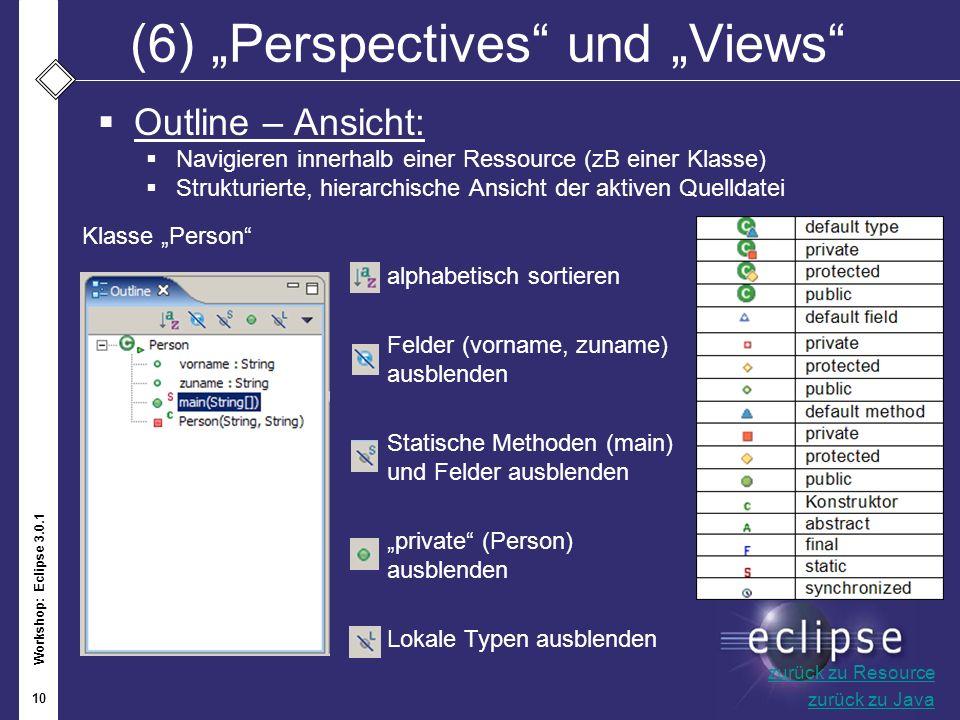 Workshop: Eclipse 3.0.1 10 (6)Perspectives und Views Outline – Ansicht: Navigieren innerhalb einer Ressource (zB einer Klasse) Strukturierte, hierarch