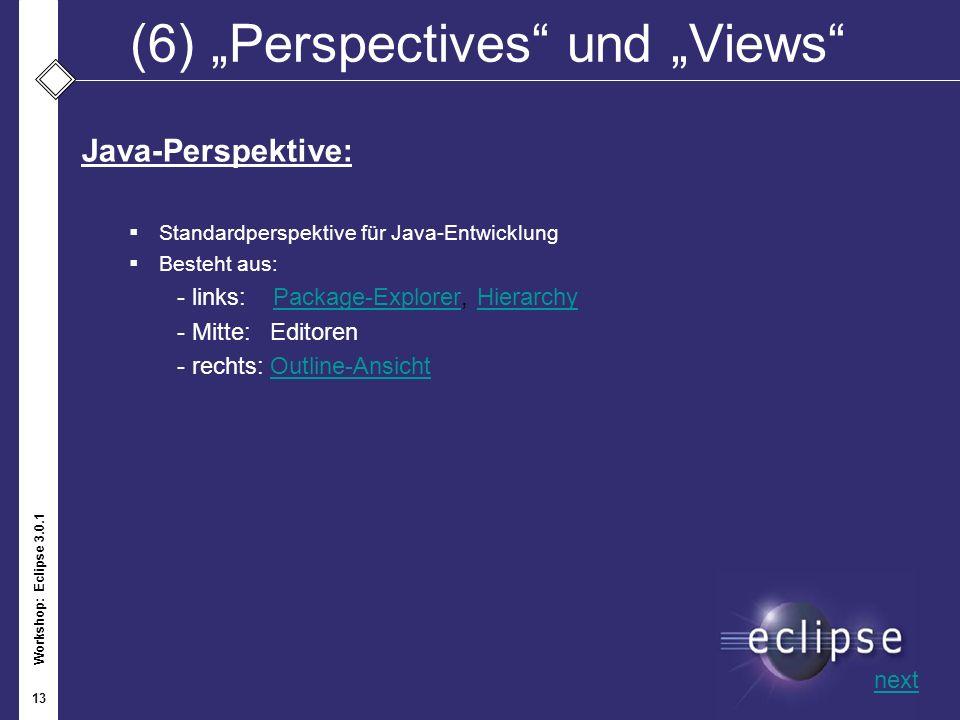 Workshop: Eclipse 3.0.1 13 (6)Perspectives und Views Java-Perspektive: Standardperspektive für Java-Entwicklung Besteht aus: - links: Package-Explorer