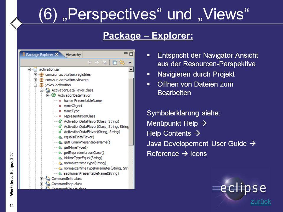 Workshop: Eclipse 3.0.1 14 (6)Perspectives und Views Entspricht der Navigator-Ansicht aus der Resourcen-Perspektive Navigieren durch Projekt Öffnen vo