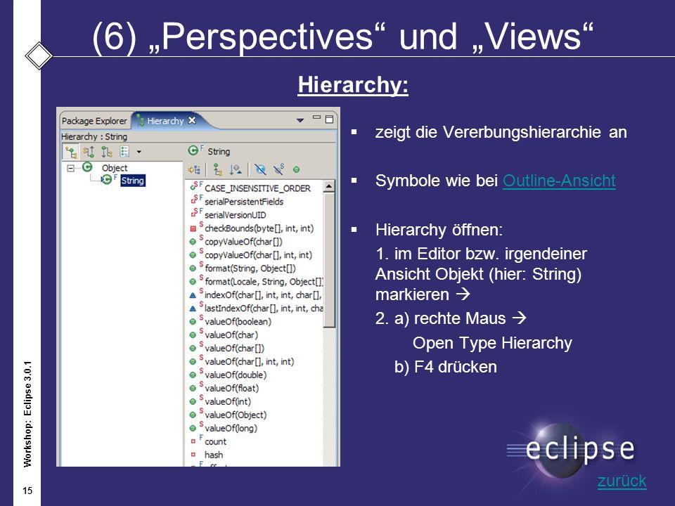Workshop: Eclipse 3.0.1 15 (6)Perspectives und Views zeigt die Vererbungshierarchie an Symbole wie bei Outline-AnsichtOutline-Ansicht Hierarchy öffnen