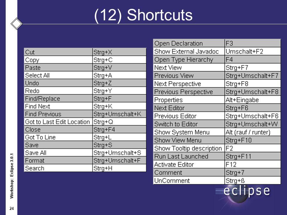 Workshop: Eclipse 3.0.1 24 (12) Shortcuts