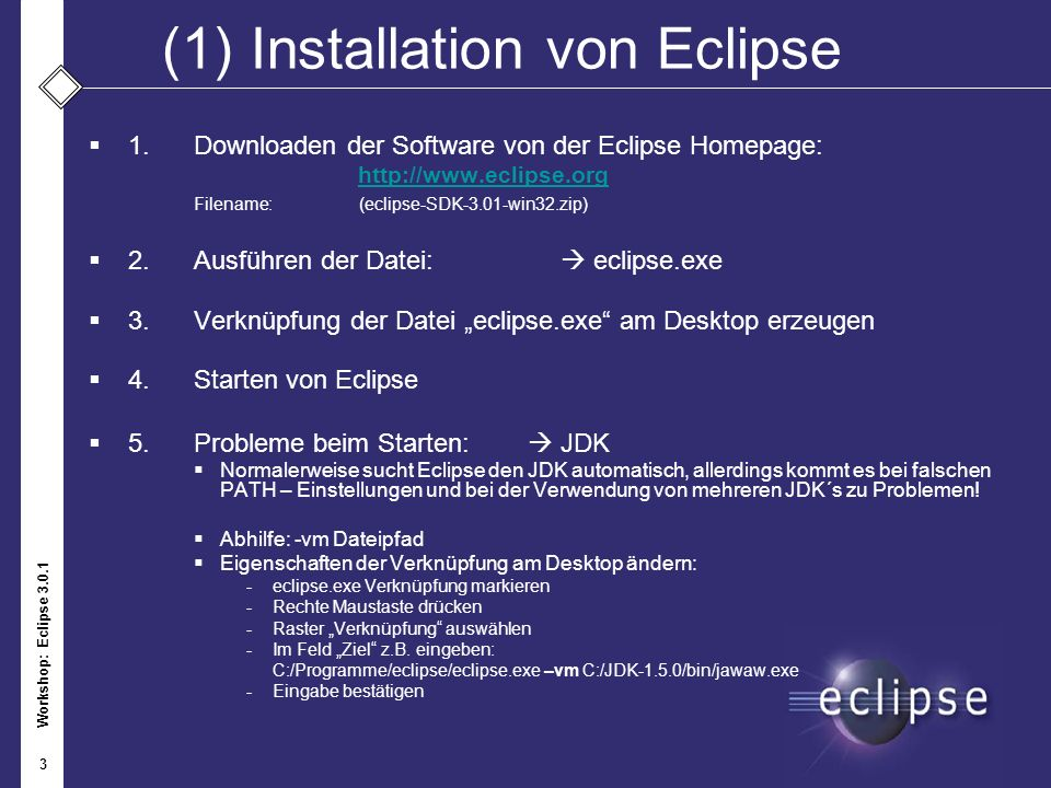 Workshop: Eclipse 3.0.1 4 (2)Installation eines Plug-In 1.Öffnen des Menü Help – Software Updates – Find and Install… 2.