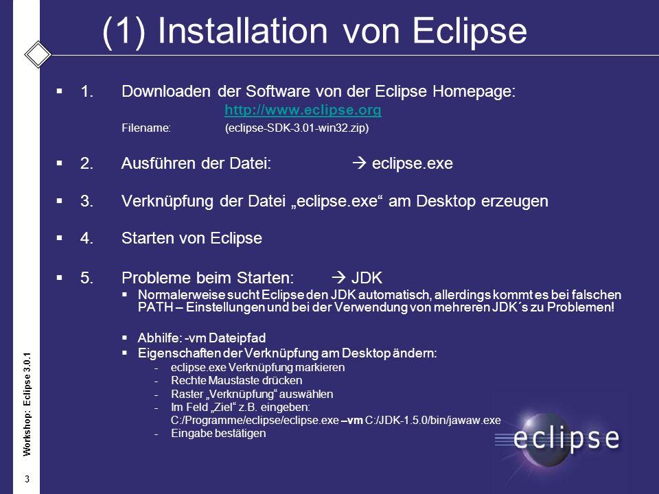 Workshop: Eclipse 3.0.1 3 (1)Installation von Eclipse 1.Downloaden der Software von der Eclipse Homepage: http://www.eclipse.org Filename: (eclipse-SD