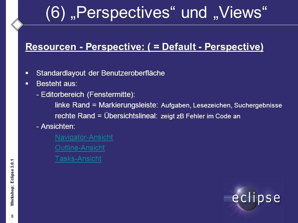 Workshop: Eclipse 3.0.1 8 (6)Perspectives und Views Resourcen - Perspective: ( = Default - Perspective) Standardlayout der Benutzeroberfläche Besteht
