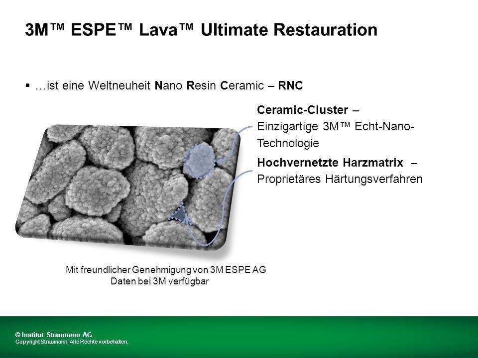3M ESPE Lava Ultimate Restauration …ist eine Weltneuheit Nano Resin Ceramic – RNC Ceramic-Cluster – Einzigartige 3M Echt-Nano- Technologie Hochvernetzte Harzmatrix – Proprietäres Härtungsverfahren Mit freundlicher Genehmigung von 3M ESPE AG Daten bei 3M verfügbar © Institut Straumann AG Copyright Straumann.
