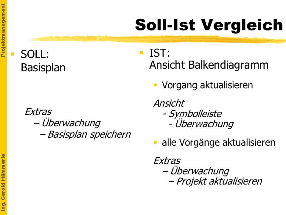 Ing. Gerold Hämmerle Projektmanagement Soll-Ist Vergleich SOLL: Basisplan Extras – Überwachung – Basisplan speichern IST: Ansicht Balkendiagramm §Vorg
