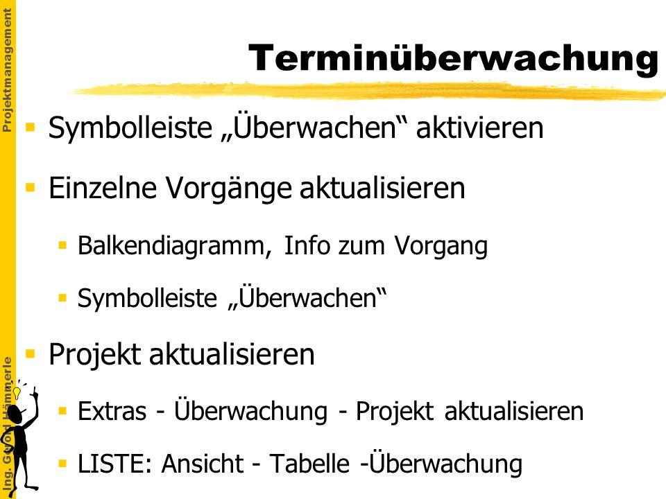 Ing. Gerold Hämmerle Projektmanagement Terminüberwachung Symbolleiste Überwachen aktivieren Einzelne Vorgänge aktualisieren §Balkendiagramm, Info zum
