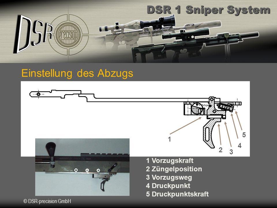 DSR 1 Sniper System © DSR-precision GmbH Einstellung des Abzugs 1 2 3 4 5 1 Vorzugskraft 2 Züngelposition 3 Vorzugsweg 4 Druckpunkt 5 Druckpunktskraft