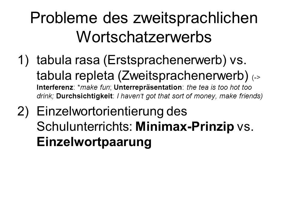 Probleme des zweitsprachlichen Wortschatzerwerbs 1)tabula rasa (Erstsprachenerwerb) vs. tabula repleta (Zweitsprachenerwerb) (-> Interferenz: *make fu