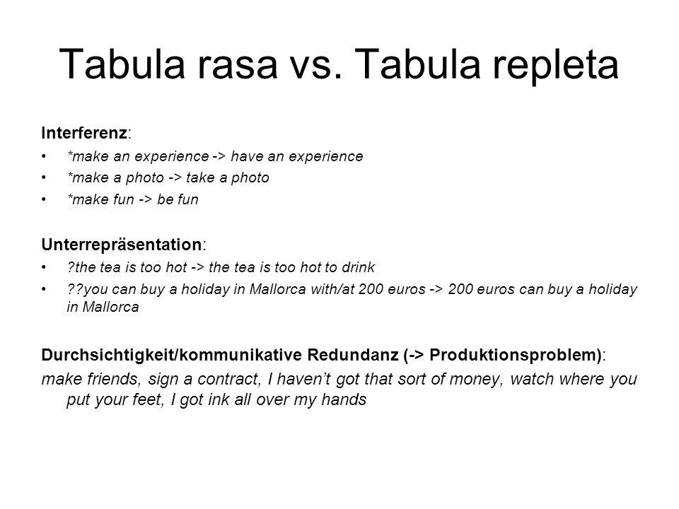 Tabula rasa vs. Tabula repleta Interferenz: *make an experience -> have an experience *make a photo -> take a photo *make fun -> be fun Unterrepräsent