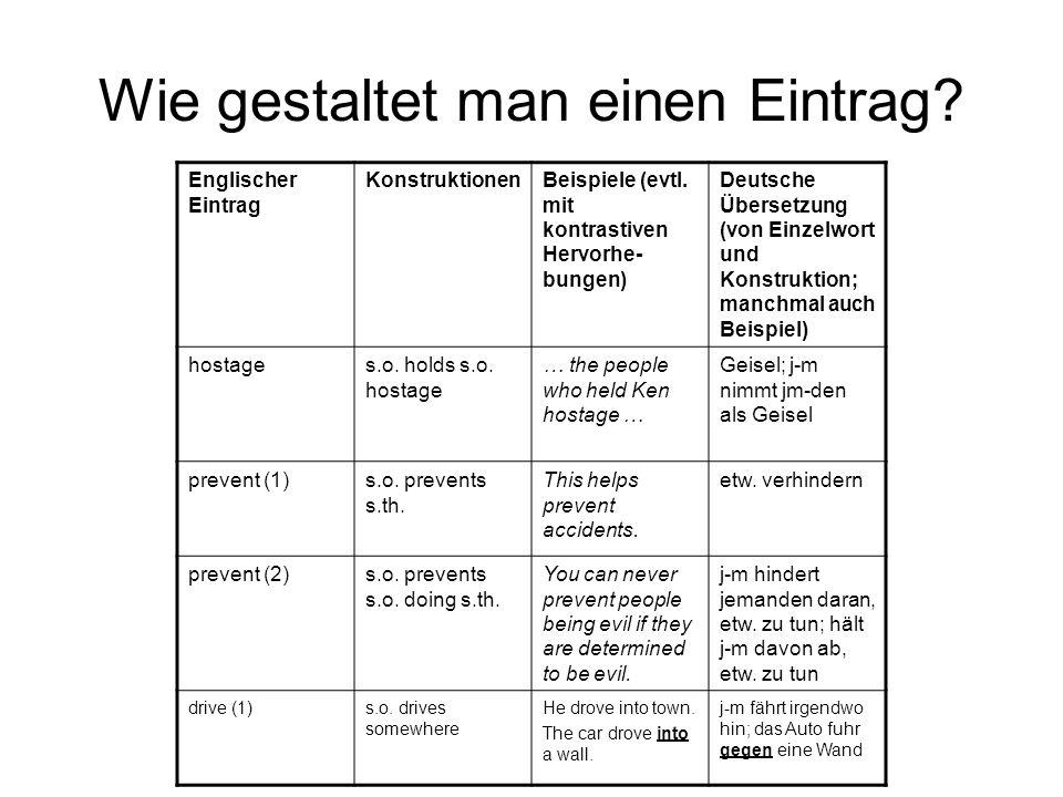 Wie gestaltet man einen Eintrag? Englischer Eintrag KonstruktionenBeispiele (evtl. mit kontrastiven Hervorhe- bungen) Deutsche Übersetzung (von Einzel