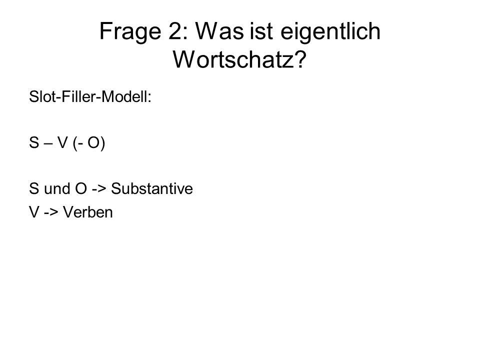Frage 2: Was ist eigentlich Wortschatz? Slot-Filler-Modell: S – V (- O) S und O -> Substantive V -> Verben
