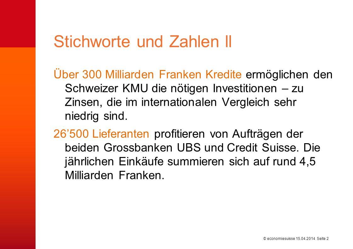 © economiesuisse Über 300 Milliarden Franken Kredite ermöglichen den Schweizer KMU die nötigen Investitionen – zu Zinsen, die im internationalen Vergleich sehr niedrig sind.