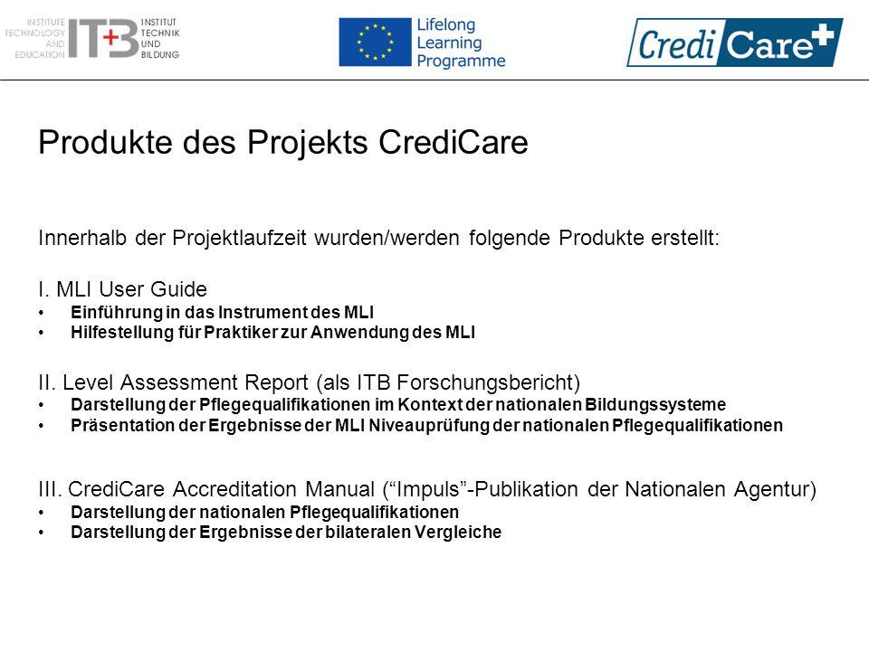 Produkte des Projekts CrediCare Innerhalb der Projektlaufzeit wurden/werden folgende Produkte erstellt: I. MLI User Guide Einführung in das Instrument