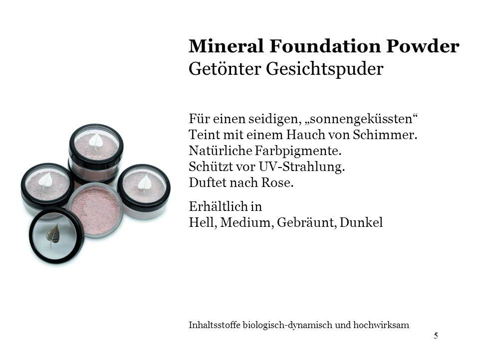 5 Mineral Foundation Powder Getönter Gesichtspuder Für einen seidigen, sonnengeküssten Teint mit einem Hauch von Schimmer. Natürliche Farbpigmente. Sc
