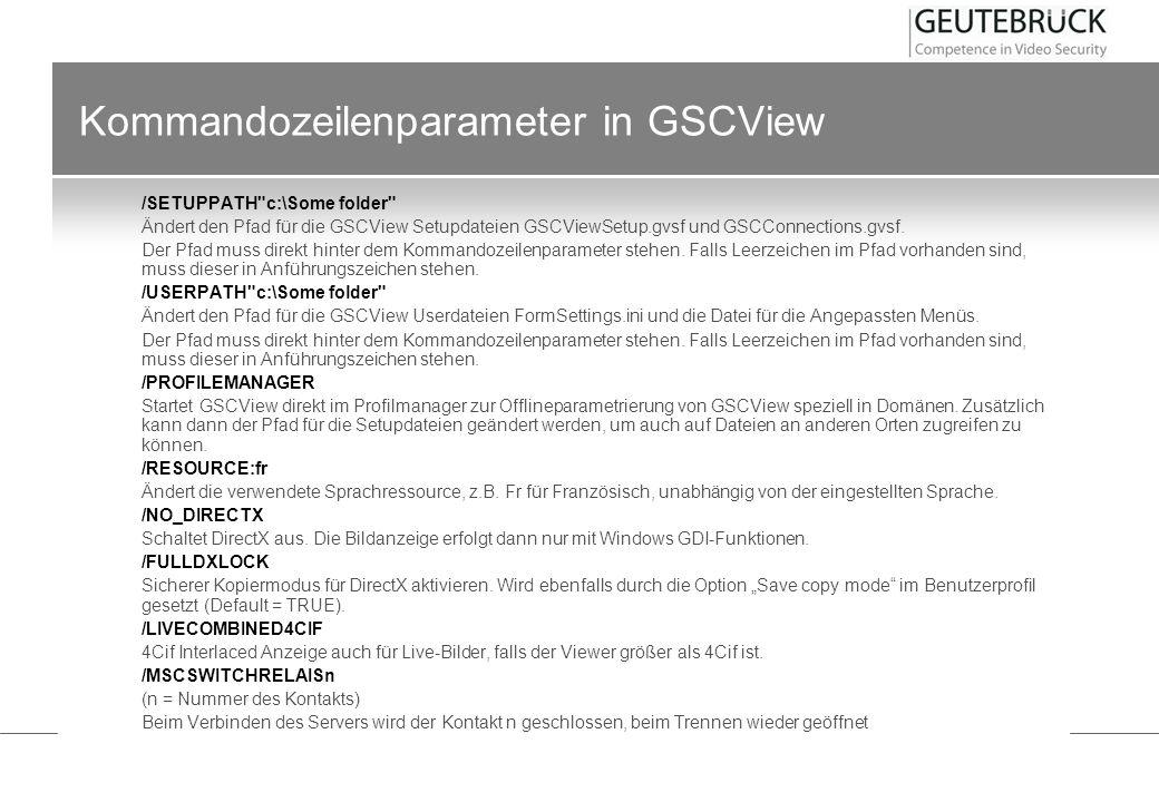 Kommandozeilenparameter in GSCView /SETUPPATH