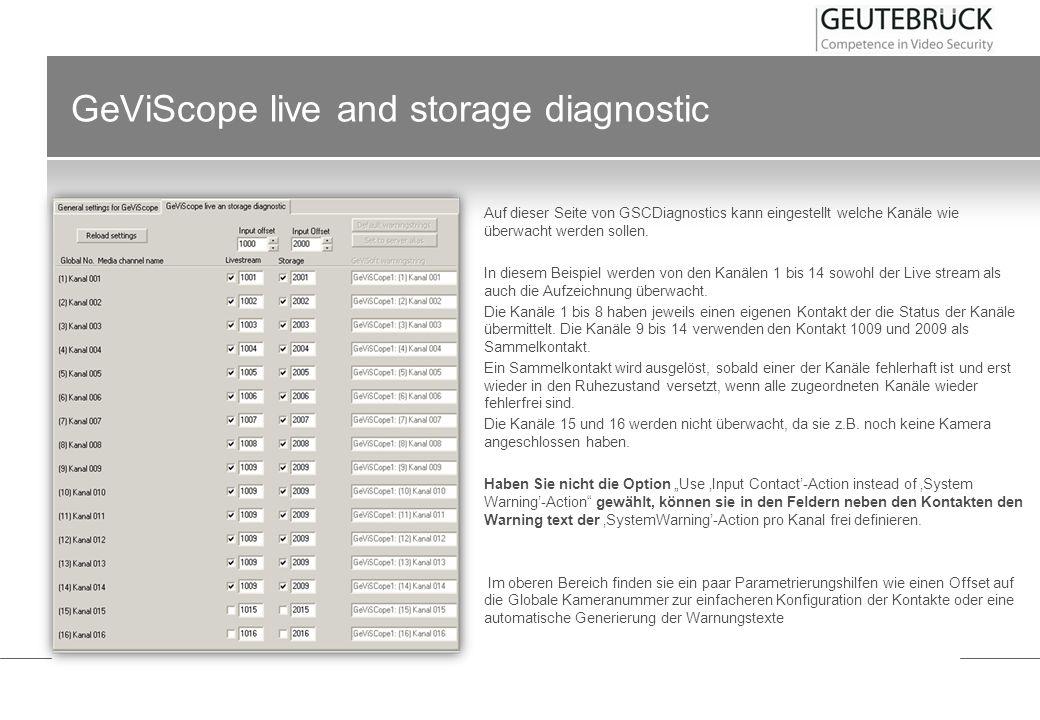 GeViScope live and storage diagnostic Auf dieser Seite von GSCDiagnostics kann eingestellt welche Kanäle wie überwacht werden sollen. In diesem Beispi