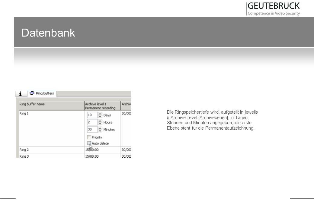 Datenbank Die Ringspeichertiefe wird, aufgeteilt in jeweils 5 Archive Level [Archivebenen], in Tagen, Stunden und Minuten angegeben; die erste Ebene s