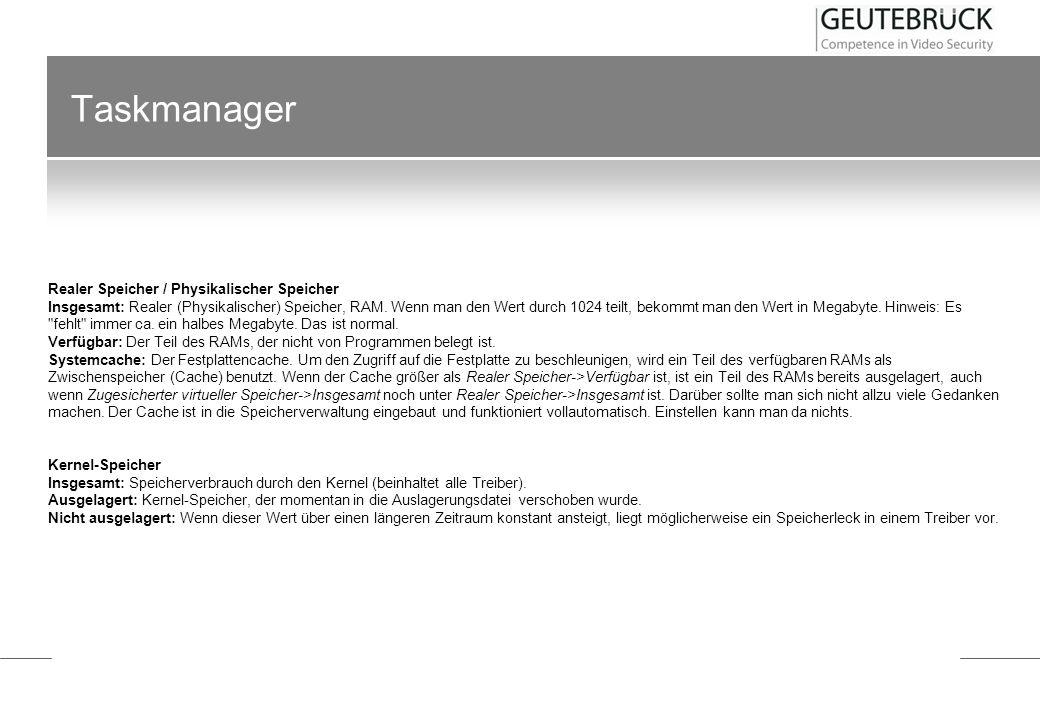 Taskmanager Realer Speicher / Physikalischer Speicher Insgesamt: Realer (Physikalischer) Speicher, RAM. Wenn man den Wert durch 1024 teilt, bekommt ma