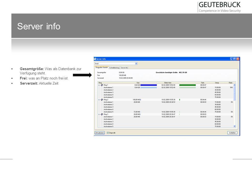Server info Gesamtgröße: Was als Datenbank zur Verfügung steht. Frei: was an Platz noch frei ist. Serverzeit: Aktuelle Zeit
