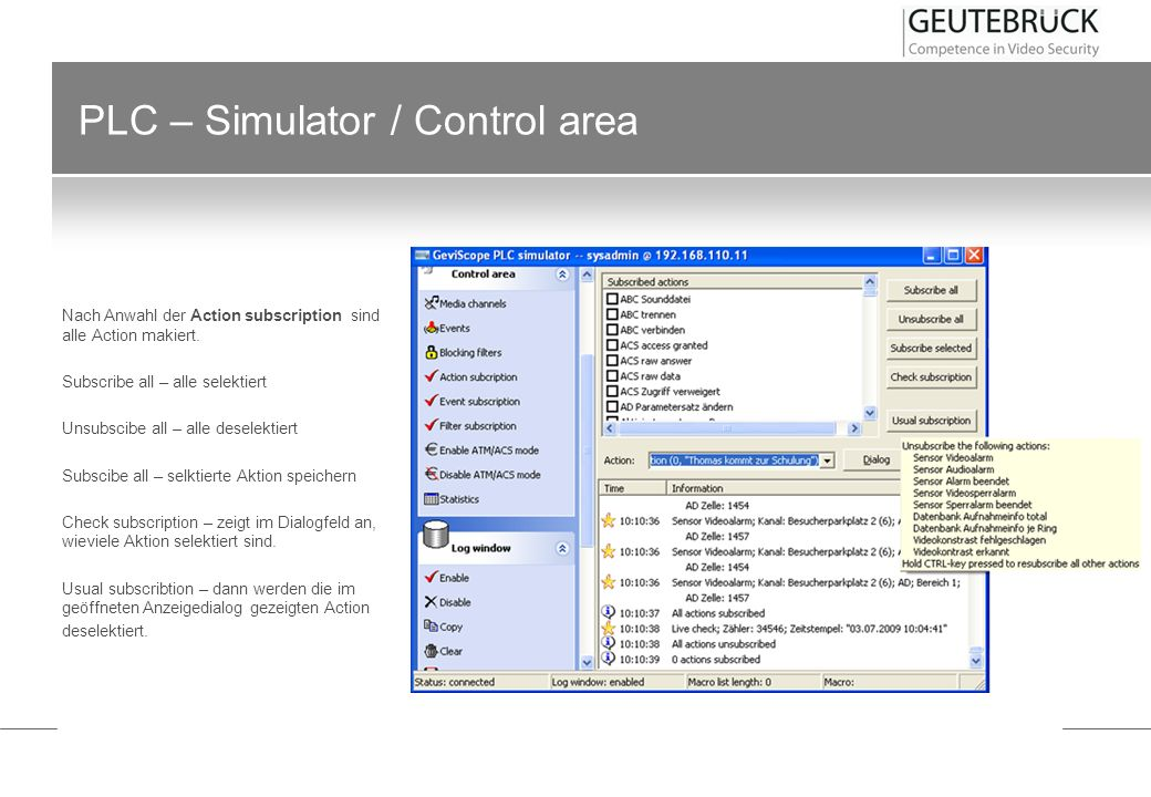 PLC – Simulator / Control area Nach Anwahl der Event subscription sind alle Events makiert.